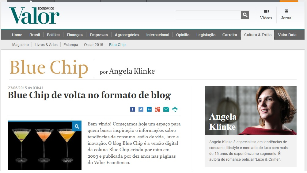 ANGELA KLINKE: Colunista estreia blog 'Blue Chip'
